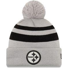 ac238b47c5a Men s Pittsburgh Steelers New Era Gray Rebound Pom Cuffed Knit Hat
