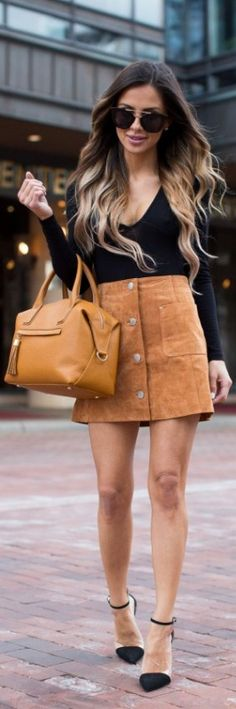 Camel Suede Skirt / Fashion Look by Mia Mia Mine