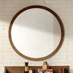 "Cooper Classics Daniel 34"" Round Wood Wall Mirror"