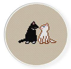 Buy 4 get 1 free ,Buy 6 get 2 free,Cross stitch pattern, PDF,cats in love,zxxc0095. $4.00, via Etsy.