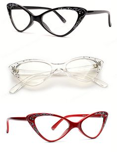 ♥ Great Quality Vintage Style Glasses ♥ Small Fit Frame ♥ Vintage Design and rhinestones Accenting Each Side of the Cat Eye Fr. Fashion Eye Glasses, Cat Eye Glasses, Cool Glasses, Glasses Frames, Rockabilly, Pin Up, Eyeglasses, Eyewear, Summer Sunglasses
