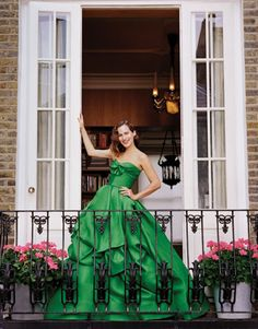 Green Oscar De La Renta Dress, Beautiful Patio, Perfect Casement Windows/Doors