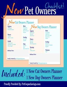 Free Printables: New Pet Owners Planner. Getting a new pet or know someone who is? Here is a great checklist printable to help! These would be great to hand out at animal shelters or adoption events for new pet parents. #free #printables #dogs #cats