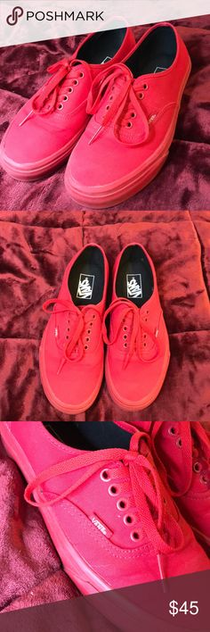 All Red Vans❤️ Very good condition only worn 2 times. Size 9 in women's & size 7.5 in men's Vans Shoes Sneakers