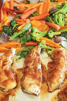 Sheet-Pan-Teriyaki-Chicken-and-Veggies...A super easy sheet pan recipe, where the veggies roast on one side of the pan while the chicken bakes on the other. A killer teriyaki sauce is drizzled over the chicken during the last few minutes of baking, creating a fabulous sticky coating!!