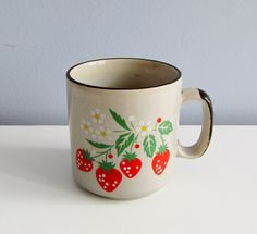 Strawberry Coffee Mug Retro Earthy Kitsch 1970s Ceramic Cup. $5.00, via Etsy.