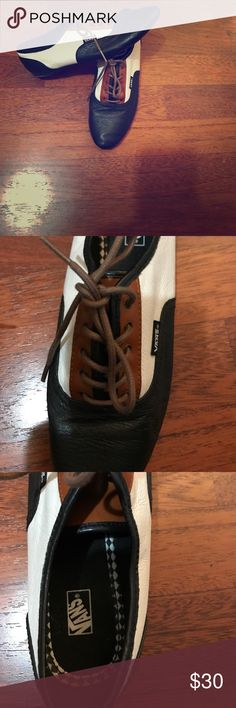 Woman's Vans Faux Leather material, slim shoe. Worn once indoors. Size 6 1/2. Will consider offers. Vans Shoes Flats & Loafers