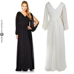 Maravilloso vestido largo con mangas largas abiertas en el centro... (Varios colores)