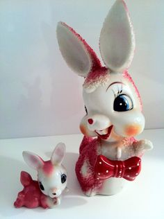 Vintage Pair of Mother and Baby Rabbit Ceramic Figurines. $30.00, via Etsy.