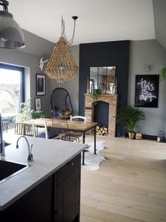 modern rustic blue kitchen ......