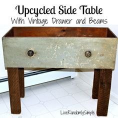 DIY Coffe/Side Table with an Antique Drawer,.....I think glass on top would look cool ,and put some antiques inside.