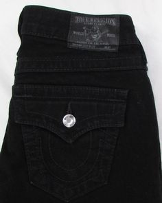True Religion Disco Billy Black Jeans Swarovski Crystal Straight Leg Low 25 X 33 #TrueReligion #StraightLeg