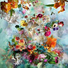 A floral salad by photographer Isabelle Menin Source: Art Floral, Motif Floral, Abstract Photography, Fine Art Photography, Creperia Ideas, Flower Phone Wallpaper, Painting & Drawing, Flower Art, Flower Power