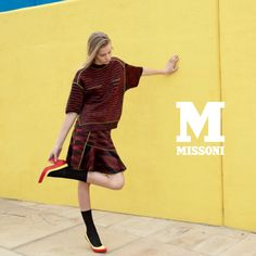 #MMissoni Catalogue | Fluo Piping Sweater & Skirt | Fall 2013 Collection