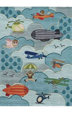 RUG | Would make a cute quilt | Momeni Lil Mo Whimsy LMJ 10 Sky Rug | Kids Rugs