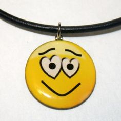 """Emoticon - """"Lovin' You"""" Guy, Fun Handmade Resin Pendant Necklace by Lingo for $12.00"""