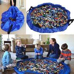 [Toy Storage Ideas] Aeroway Children's Play Mat and Toys Storage Bag, Kids Play Floor Mat - Blue ** Find out more about the great product at the image link. (This is an affiliate link) Toy Storage Bags, Lego Storage, Storage Ideas, Storage Solutions, Lego Toys, Lego Duplo, Children's Toys, Chambre Nolan, Childrens Play Mat