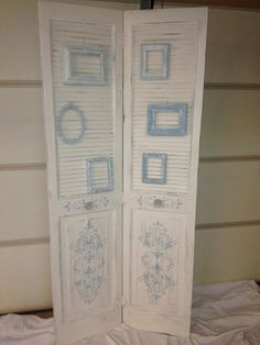 Shabby Chic Floor Screen made out of old louvre doors.
