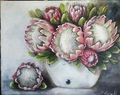 Protea Art, Protea Flower, Oil Pastel Paintings, Flower Art, Art Flowers, Botanical Art, Flower Decorations, Watercolor Art, Flower Arrangements