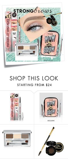 """""""browies"""" by ibeelaert ❤ liked on Polyvore featuring beauty, Post-It, Benefit, Clinique, BeautyTrend, strongbrows and boldeyebrows"""