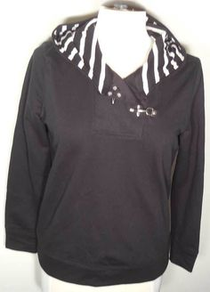 LAUREN  W's Offset V-Neck Hooded Sweatshirt Black Sz Small $89.50 - NWT #LRLLaurenJeansCoRalphLauren #SweatshirtHooded