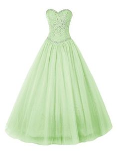 Bbonlinedress SweetHeart Long Beading Tulle Prom Dresses Evening Party Wedding Gowns Mint 10