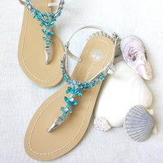 Something Blue Ombre Wedding Sandals Shoes for Beach, Destination Wedding with Rhinestone Crystal Strappy Silver Bridal Thong von BellaBelleShoe auf Etsy https://www.etsy.com/de/listing/212415177/something-blue-ombre-wedding-sandals