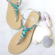 Something Blue Ombre Wedding Sandals Shoes for Beach, Destination Wedding with Rhinestone Crystal Strappy Silver Bridal Thong von BellaBelleShoe auf Etsy https://www.etsy.com/de/listing/212415177/something-blue-ombre-wedding-sandals