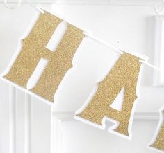 HAPPY ANNIVERSARY Banner - 40th, 50th, 60th, 70th - Gold Glitter on White. $30.00, via Etsy.