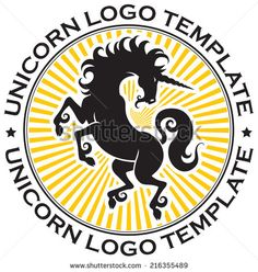 Beautiful prance unicorn with light round logo template