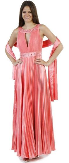 Scoop Neck Coral Dress Greek Style Pleated Cruise Jewel Neck Gown $99.99