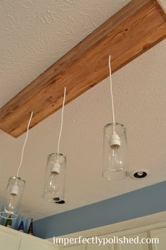 diy kitchen pendant light/how to convert recessed lighting into pendant lighting!! Yay we have very wonky light fixtures and placement