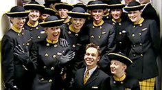 Old Monarch Airlines uniform. (Picture shows Nick and Gemma who were followed as new cabin crew recruits in the Holiday Airline series)