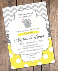 Yellow and gray elephant baby shower invitation oh baby chevron yellow and gray elephant baby shower invitations custom digital file filmwisefo