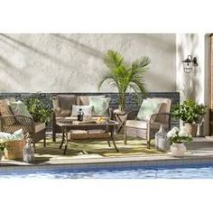 Beachcrest Home Tribeca 4 Piece Rattan Sofa Seating Group with Cushions Outdoor Sofa Sets, Indoor Outdoor Area Rugs, Outdoor Seating, Outdoor Furniture Sets, Rattan Furniture Set, Rattan Sofa, Wicker, Furniture Nyc, Cheap Furniture