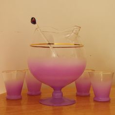 Vintage Purple Blendo Snifter Pitcher and 4 Glasses