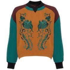 Antonio Marras Burnt Embroidered Sweatshirt (19,880 INR) ❤ liked on Polyvore featuring tops, hoodies, sweatshirts, sweaters, jumpers, sweatshirt, shirts, orange, sweatshirts hoodies and sweat shirts