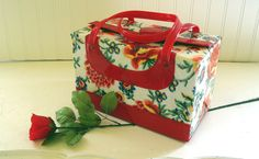 BoHo Red Vinyl Travel Case  Vintage 1960s  by DivineOrders on Etsy, $34.00