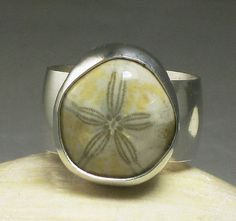 Sterling Silver Sand Dollar Ring Fossil by TazziesCustomJewelry