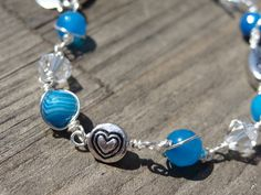Blue Agate Love Wire Wrapped Heart Crystal Bead by LuvAlisa, $20.00