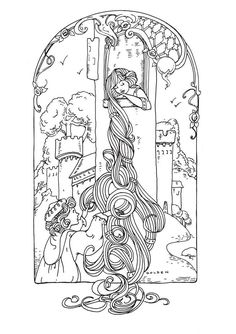 To print this free coloring page «coloring-adult-rapunzel», click on the printer icon at the right