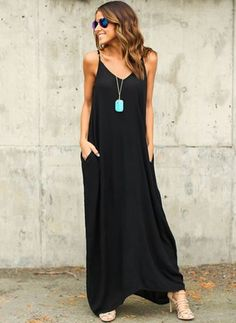 Cotton Solid Sleeveless Maxi Casual Dresses (1032989) @ floryday.com