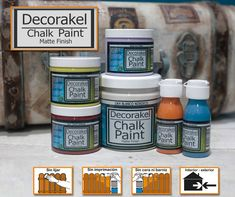 Decorakel lanza al mercado su nueva gama de pintura a l … Coffee Cans, Chalk Paint, Interior And Exterior, It Is Finished, Canning, Store, Pintura, Home Canning, Chalkboard Paint