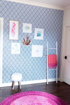 Gallery wall with diamond temporary wallpaper