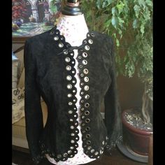 NEW LISTING BRANDON THOMAS SUEDE BLACK JACKET Gorgeous perforated metal detail all around and at the ends of sleeves fully lining perfect condition BRANDON THOMAS Jackets & Coats Blazers