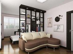 Зонирование спальни гостиной при помощи высокого стеллажа