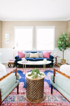 Glamour Nest Interior Design | Navy and pink living room | Caitlin Wilson Kismet rug in navy  #ShopStyle #MyShopStyle #livingroomdesign #livingroomstyle #navyandpinklivingroom #navyandpink