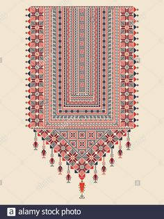 Stock Vector - Vector Tatreez pattern design with Palestinian traditional embroidery motif Embroidery Neck Designs, Embroidery Motifs, Cross Stitch Embroidery, Palestinian Embroidery, Hungarian Embroidery, Motifs Textiles, Textile Patterns, Cross Stitch Designs, Cross Stitch Patterns