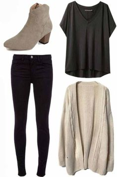 Perfect Autumnal/Spring slouchy outfit....would also add a tartan scarf for a splash of colour.