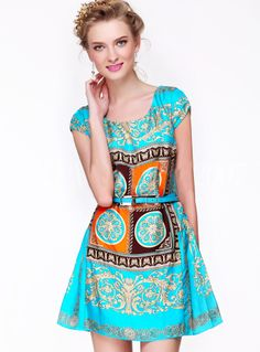 Morpheus Boutique  - Blue Pattern Satin Cap Sleeve Celebrity Dress